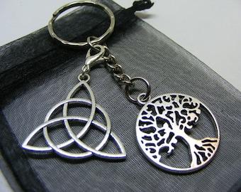 Tree Of Life & Celtic Knot Charm Keyring With Gift Bag - UK Seller