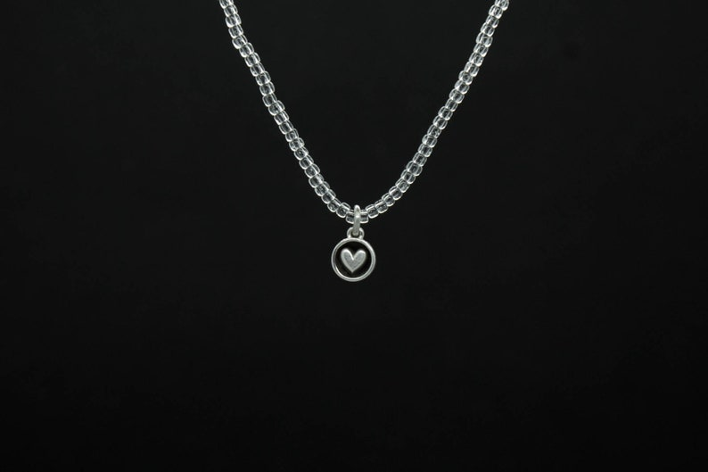 choker 100 /% Silk thread Minimalist necklace Silver necklace Heart Necklace aesthetic necklace Bead necklace Heart pendant