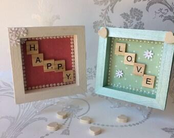 Small scrabble letter decorative frames LOVE, HAPPY