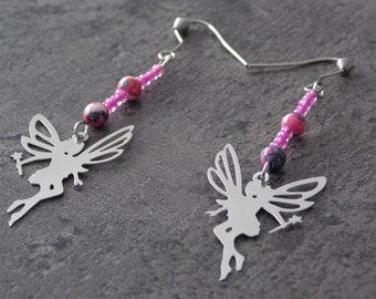 """Fairy"" stainless steel, Pearl + stones + charm earrings"