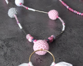 """Necklace """"Laura"""" beads, tassels and crochet"""