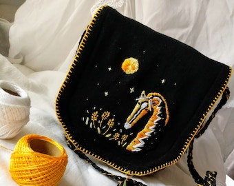 Handmade small bag Embroidered bag Cross body purse | Embroidered purse Fabric Horse handbag embroidery bag with horse black purse moon