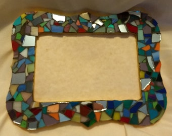 Multi color Glass Mosaic Photo Frame - holds 4x6 picture