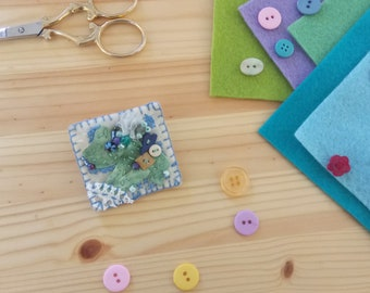 Unique Hand stitched Felt Brooch Badge Square Blue Beaded Ribbon