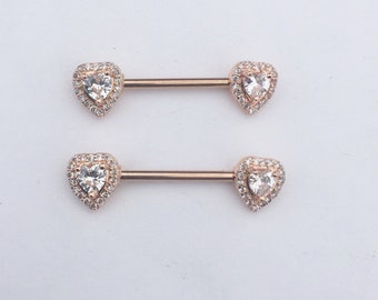 21e235d4943dab Rose gold heart shaped nipple ring nipple shield nipple jewelry (2 pieces)
