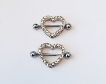 Niobium Heart Nipple Shield Valentine/'s Gift Gift for Her Rainbow Heart Nipple Ring PvD 316L Stainless Steel 14g Barbell