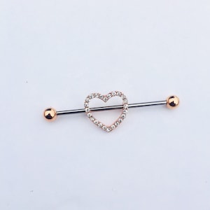 m7 modifi\u00e9 ch4 pearl RG Rose Gold and freshwater pearl Industrial bar earring Industrial piercing Industrial Barbell Jewelry