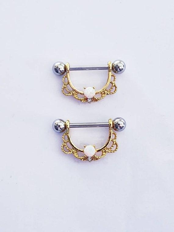 Golde Braided Multistone Nipple Piercing Surgical Steel Barbell...14g..14mm single one