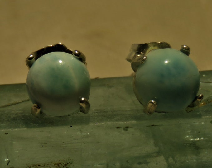 Larimar. Stud Earrings. Gem of the Caribbean, the Ocean, & Calmness. 8mm Gems Set in Sterling Silver.  Found only in the Dominican Republic.