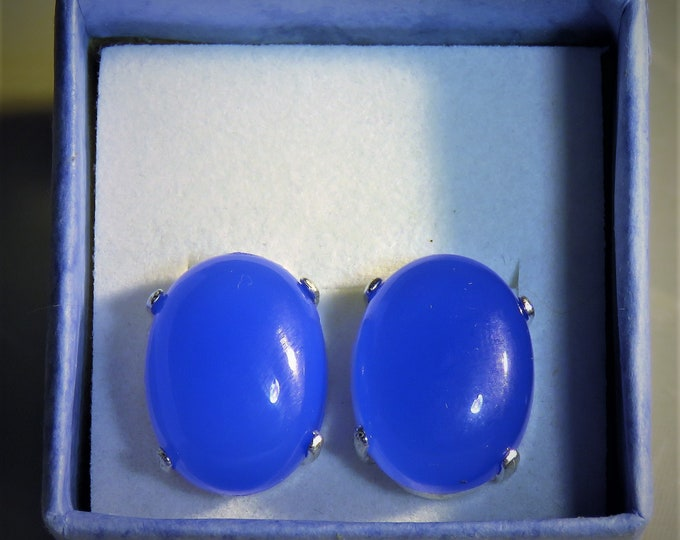 Blue.Chalcedony. Stud Earrings. Large 12x16mm Ovals. From India.  Gorgeous Medium Blue Color that is Striking. Unique!