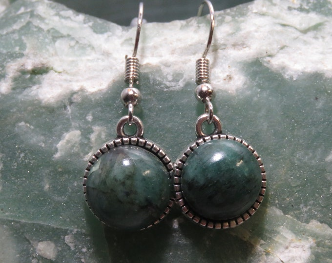 Green Chinese Jade.  Dangle Earrings.  12mm Round Gems, set in Antiqued Silver Dangles.  Gorgeous and Hypnotic Jade Color and Depth of Hue
