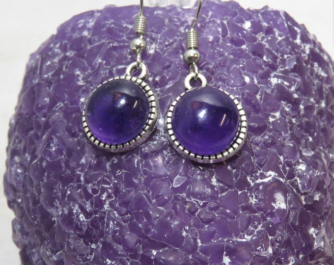 African Amethyst Dangle Earrings. Gorgeous Hue.  Famous Feathered Amethyst. 12mm Round Gems Set in Silver Dangle Ear Wire Earrings.
