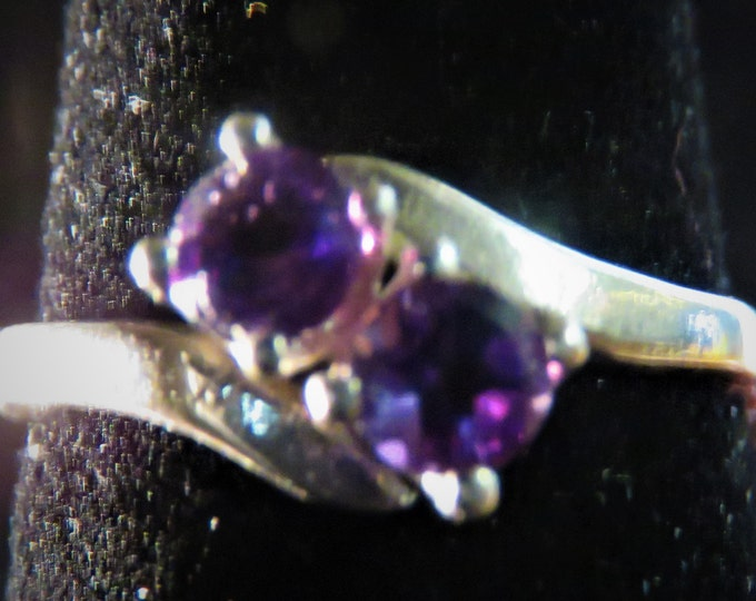 Amethyst.  From Russia; Double Stone Ring;  Rare, Unique, and Beautiful; Two 4mm Gems, 0.5 Carats total. Price REDUCED. On sale.