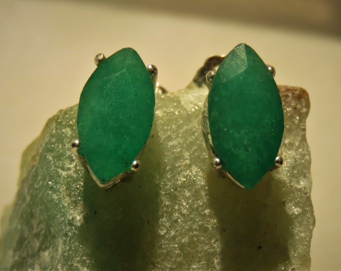 Zambian Emerald Marquise Cut Earrings. Stud Style. Set in Sterling Silver. Gorgeous Forest Green Hue: Top Color;INTRODUCTORY PRICE REDUCTION