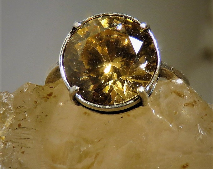 Golden Zircon Ring. Adjustable. Natural Gem (NOT CZ) From Cambodia, Near Flawless. 12mm Round Brilliant Cut w/ Stunning Scintillation.
