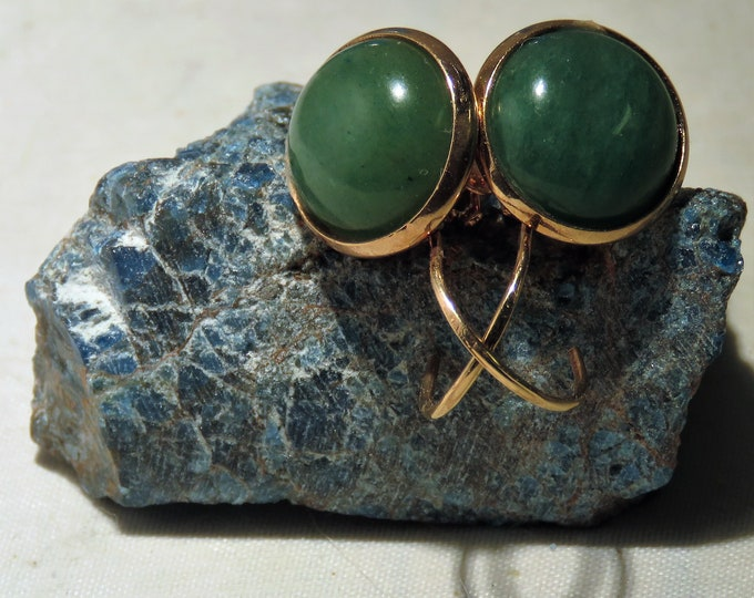 Aventurine Gems From Zambia.  Set in Rose Gold Plated Dangle Earrings.  12mm Round Green Gems. Look Like Jade. Frequent Jade Substitute.