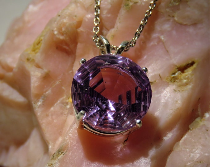 "Amethyst. Pendant. Fantasy Cut. Gorgeous, 12mm round HUGE Gem From Brazil. One of a Kind Gem Cut,  Set in Sterling Silver, 20"" SS Chain."