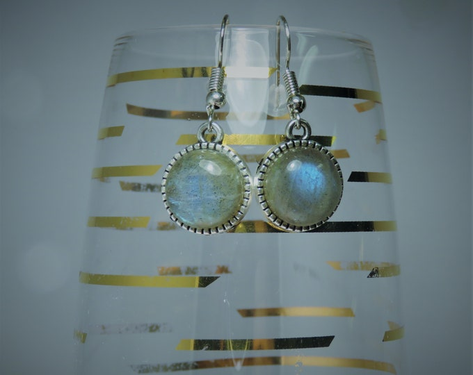 Labradorite Gems, 12mm Rounds, w/ Iridescent Flashes of Peacock Blue and Gold. Set in Silver Dangles. Gems of Psychic Enhancement !!!