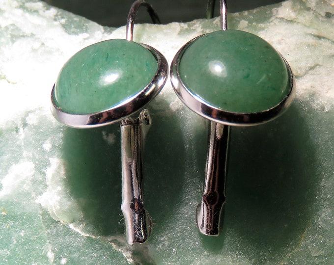 Green Aventurine. Earrings. 12mm Gems Set in Silver Plate, Latch Back Dangles. Creamy Green Gems, Look Like Jade. Very Relaxing Color Hue