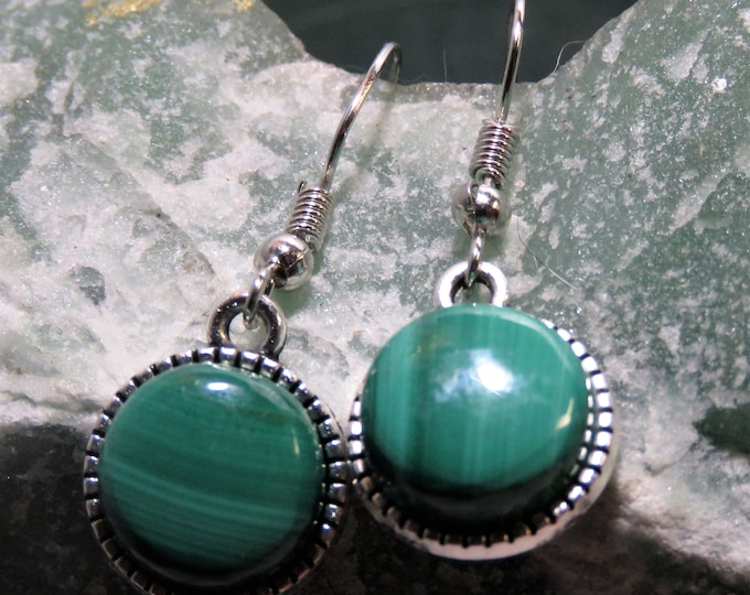 Arizona Malachite Earrings. Dangle Style.  12x12mm Large Gems Set in Antiqued Silver.  Gorgeous, Deep to Light Green Striping. Top Color!!