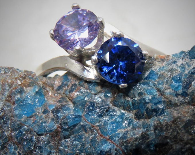 Lilac & Blue Zircon Double Ring. Two, 6mm Gems from Cambodia Set in Size 7 Sterling Silver Ring.  Unique, Stunning Natural Gems. 2 ct. Total