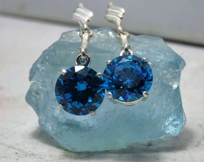Sea Blue Zircon Earrings. Natural (NOT CZ) Gem Fr. Cambodia.10mm Gem Set in Sterling Silver Dangles. Gorgeous Color, Great Fire & Brilliance