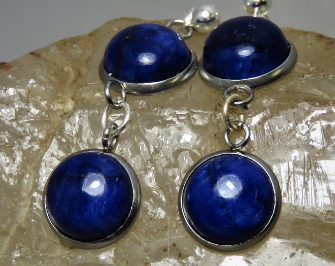 Blue Sapphire Cabochon Dangle Earrings.  12mm Cabs, 2 in Each Earring.  Gorgeous Deep Blue Color.  September Birthstone.