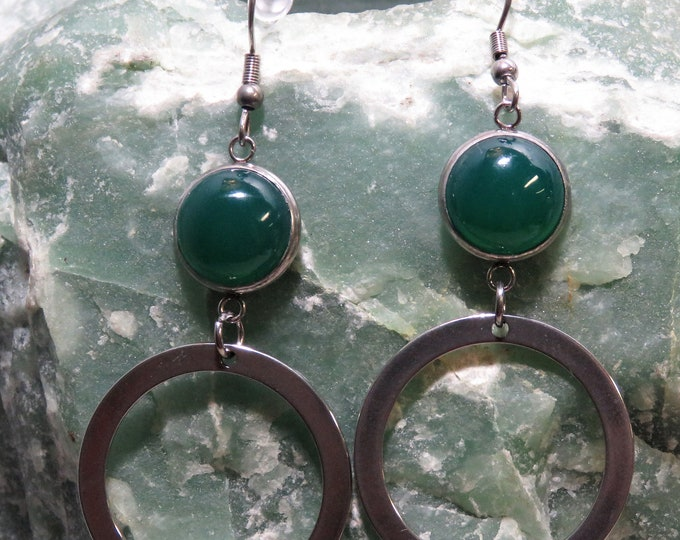 Green Onyx Dangle Earrings. 12mm x 12mm Gems from India. Gorgeous Emerald Green.Almost Hypnotic Hue. Large Circle Accents. Makes a Statement