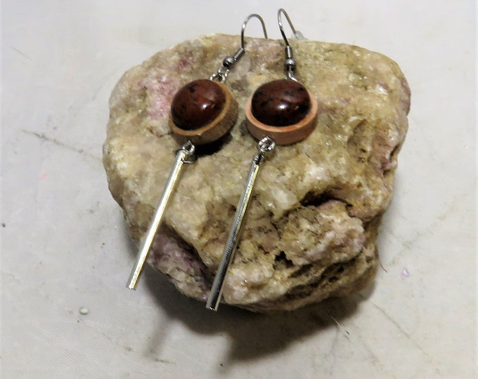 Mahogany Obsidian Set in Actual Wooden Dangle Earrings.  12x12mm Southwestern US Gems, Set in Wood with Silver Dangle.  Very Unusual,& Bold!
