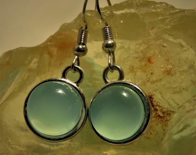 Aqua Chalcedony. Dangle Earrings. Large 12mm Round Gems from India.  Warm Glowing Gemstones.  Looks Like Aquamarine Cabachons