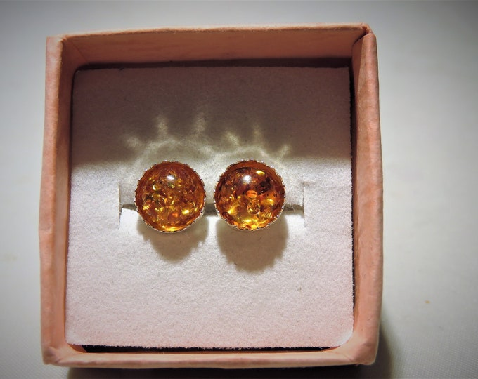 Earrings. Baltic Amber. Deep Orange Color. Natural Prehistoric Amber. 8mm Round in Sterling Silver Studs. Fr. Lithuania.