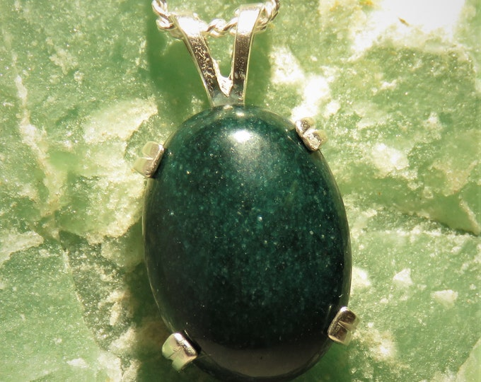 "Green Mtn. Jade from New Zealand. Pendant. 18x13mm Gorgeous Gem Set in Sterling Silver Pendant and 22"" Chain. Deep Green Color, Rare Find"