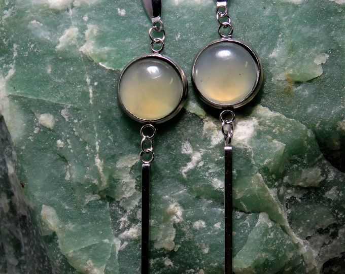 Jade Earrings. Dangle Style.  12mm Round Chinese Jade Gems Set in Silver Plate Dangle Earrings. Creamy, Hypnotic Jade From Southern China!
