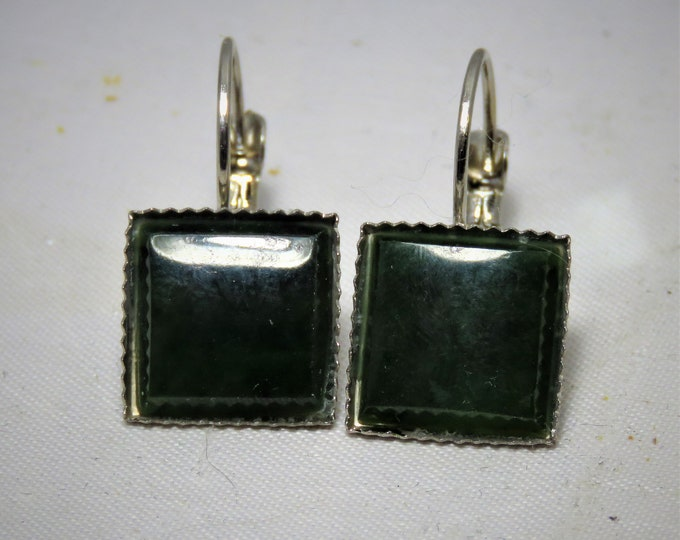 Canadian Jade Earrings. Dangle Style.  12mm Square Gems from British Colombian Mines.  Deep Hypnotic Green Gems Set in Silver Dangles.