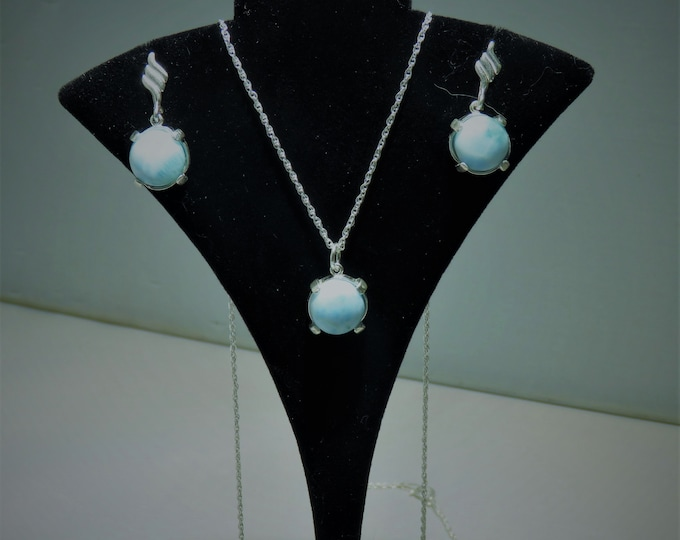 "Earring. Pendant. Set. Larimar. Gem of the Caribbean & the Ocean. All Set in Sterling Silver. 20"" Silver Chain. 10mm Rounds  in All Settings"