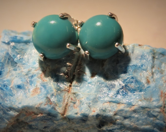 Turquoise From Hubei, China; Earrings Set in Sterling Silver Studs.  Gorgeous 8mm Natural Round Gems.  Extremely Unique & Rare in The USA.