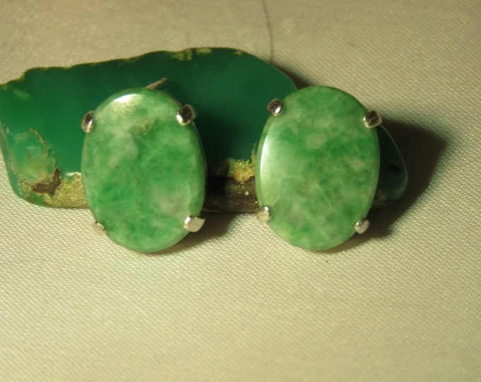 Jade. Jadeite. SIberian. Earrings, Stud type. Rare and Unique Gem, 16x12mm Oval. ~2ct tot wgt. This Gem Is Rarely Seen In the Western World.