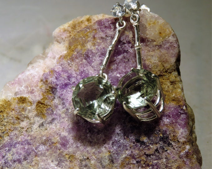 Green Amethyst. Dangle Earrings. 12mm Round Fantasy Cut Amethyst w/3mm Cambodian Zircon (NOT CZ) Accent. All in Sterling Silver. Stunning