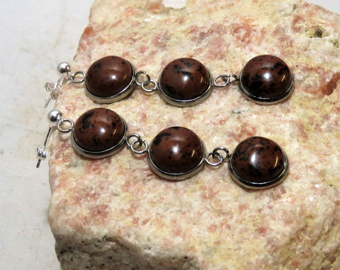 Mahogany Obsidian.  Dangle Earrings.  12mm Gems Set in Series for a Stunning and Bold Effect.  Very Unusual.  Beautiful Actual Wood Color