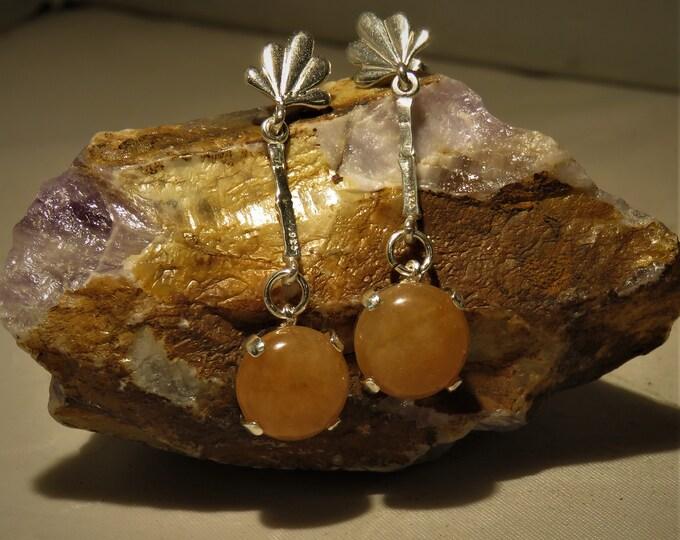 Golden Peach Aventurine Earrings. Dangles. 12mm Round Glowing Gems from India.  Set in Sterling Silver Ear-Wire Earrings. Earthy Tone