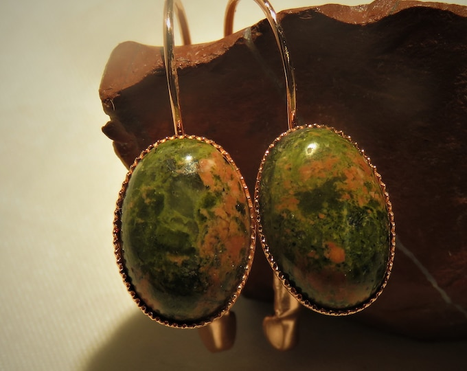 Unakite Gems Set in Rose Gold Dangles.  Gems from the Smoky Mts. of North Carolina.  Gorgeous green/orange color play.  Unique in Nature.