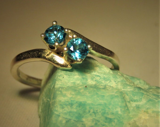 Paraiba. Topaz.  Unique Color From Brazil; Double Stone Ring, Two 4mm Paraiba Topaz Top Quality Gems Set in SS.  Striking !! On Sale 50% off