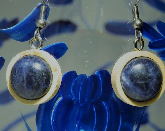 Sodalite Gems in Wood Earrings.  6th Sense Catalysts, 12mm Round Gems, Set in Wood Dangles. Gorgeous Deep Blue w/ White Silver Streaks.