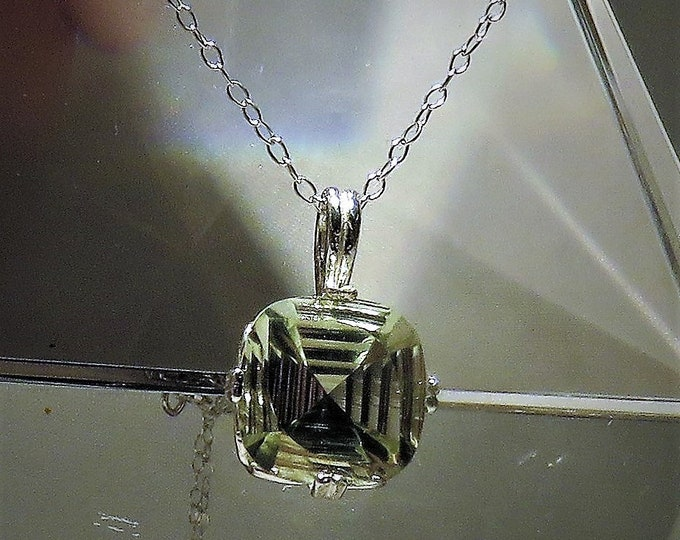 "Green Amethyst. Prasiolite. Fantasy Cut. Pendant. Huge 12mm x 12mm Square Cut Gem Set in Sterling Silver.  20"" Chain. Totally Unique Gem Cut"