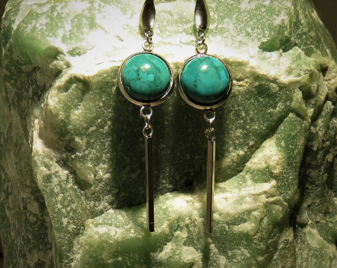 Turquoise Earrings. Real Gems From the Middle East.  12mm Gorgeous High Polish Gems Set in Sterling Silver. Unique Gem Finish;  Rare Quality