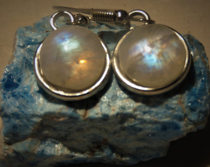 Rainbow Moonstone. Dangle Earrings. 12mm Gems from India.  Luminescent, Scintillating Gemstones. Great Color Play w/ Dominant Blue Hues