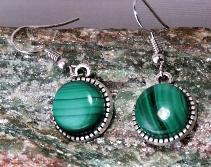 Malachite Set in Antique Silver Dangle Earrings. French Wire Style. 12mm x12mm Round Gems From Arizona, USA. Beautiful Natural Color Banding