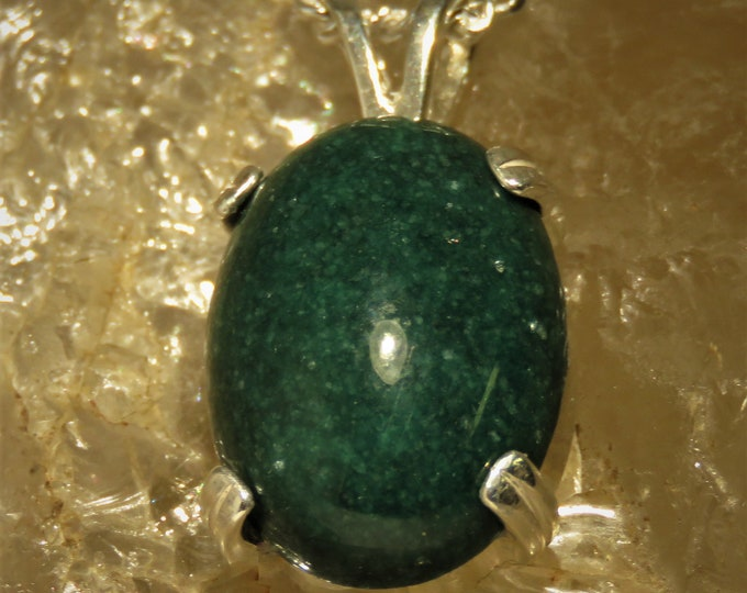 """Canadian Jade Pendant. Set in Sterling Silver w/ a 22"""" Chain.  18x13mm Gorgeous Jade Gem.  Unique Color.  Some of the First Material Mined."""