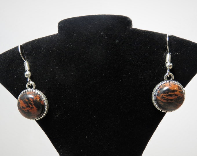 Mahogany Obsidian Earrings. 12mm Round Gems Set in Antiqued Silver Dangles. Unique and Bold Ear Wear.  Great Gift For Someone w/ Everything