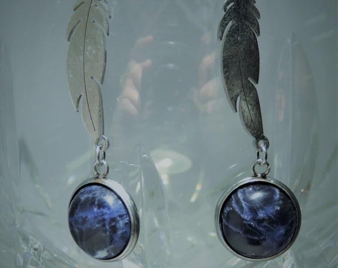 Sodalite Gems, 6th Sense Catalysts, 12mm Rounds, Set in Silver Dangle Earrings.  Gorgeous Deep Blue w/ White Silver Lightning Streaks.